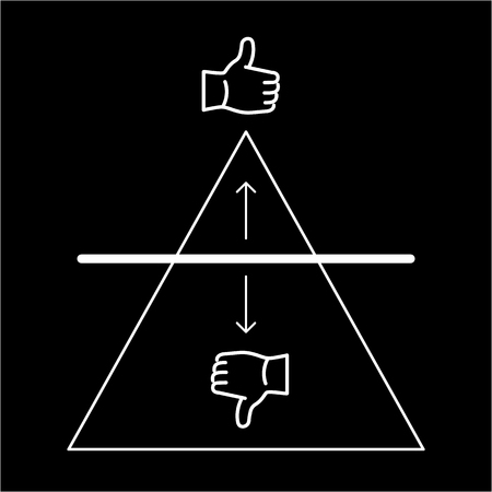 benchmark: Conceptual vector benchmark icon with triangle chart and thumb up and thumb down | modern flat design marketing and business linear illustration and infographic concept white on black background
