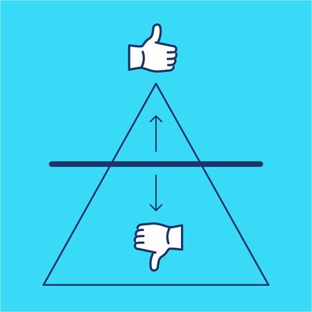 benchmark: Conceptual vector benchmark icon with triangle chart and thumb up and thumb down | modern flat design marketing and business linear illustration and infographic concept on blue background Illustration