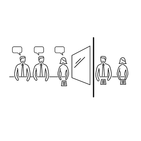 focus: Conceptual vector focus group icon of marketing reserach method with group of people discussing in meeting room and second behind the mirror | modern flat design business linear illustration and infographic concept black on white background