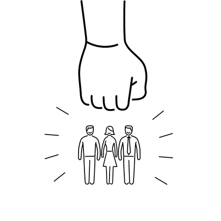 group strategy: Conceptual vector aggressive campaign strategy icon of people group pushing down by hand fist | modern flat design marketing and business linear illustration and infographic concept black on white background