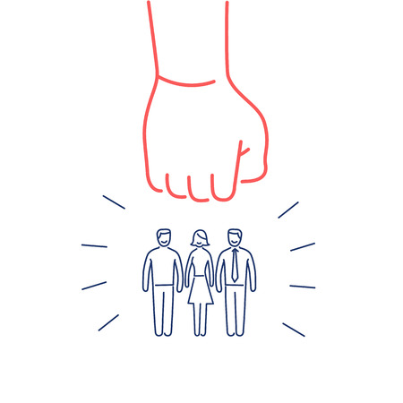 group strategy: Conceptual vector aggressive campaign strategy icon of people group pushing down by hand fist | modern flat design marketing and business linear illustration and infographic concept red and blue on white background
