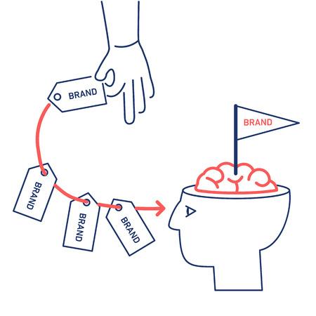 Vector conceptuel marque stratégie de marketing icône de la main à plusieurs reprises l'envoi de marque dans l'esprit du client ou dans le cerveau dans sa tête ouverte | Illustration moderne de design plat illustration linéaire et concept infographique rouge et bleu sur fond blanc Vecteurs