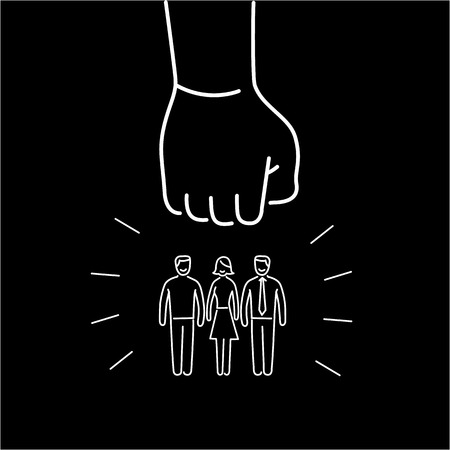 aggressive people: Conceptual vector aggressive campaign strategy icon of people group pushing down by hand fist | modern flat design marketing and business linear illustration and infographic concept white on black background Illustration
