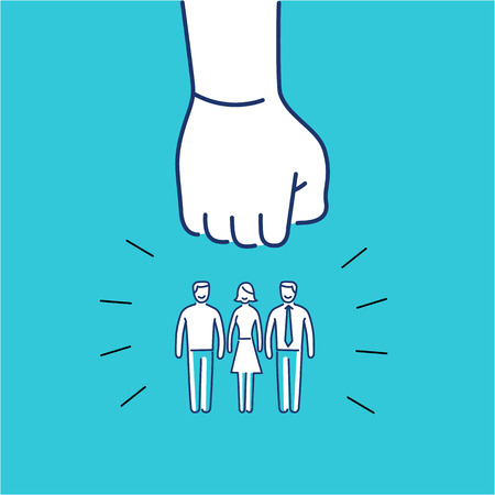 group strategy: Conceptual vector aggressive campaign strategy icon of people group pushing down by hand fist | modern flat design marketing and business linear illustration and infographic concept on blue background