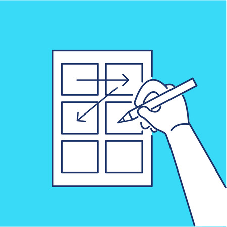storyboard: Conceptual vector storyboard icon of hand drawing creative sketches | modern flat design marketing and business linear illustration and infographic concept on blue background Illustration