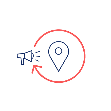 map marker: Conceptual vector local marketing campaign strategy icon with megaphone map marker   modern flat design marketing and business linear illustration and infographic concept red and blue on white background Illustration