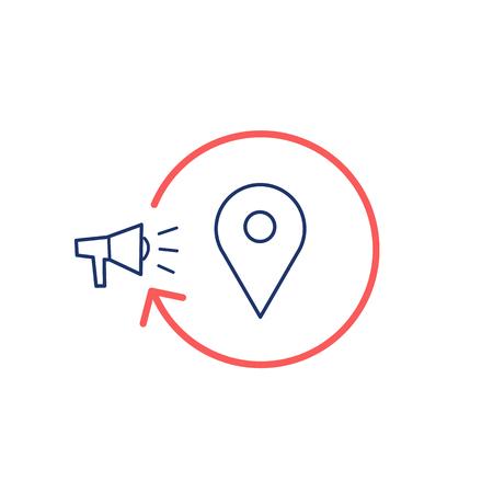 conceptual map: Vector conceptual icono de la estrategia de campa�a de marketing local con el meg�fono marcador mapa | El dise�o plano y lineal moderna comercializaci�n de negocio ilustraci�n y el concepto de infograf�a rojo y azul sobre fondo blanco