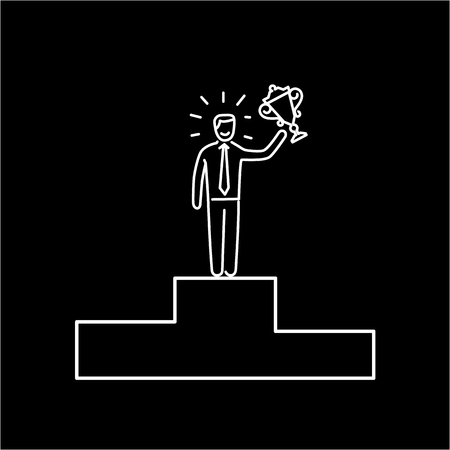 gold cup: Conceptual vector tender winner icon of businessman standing on the top of the podium with gold cup | modern flat design marketing and business linear illustration and infographic concept white on black background Illustration