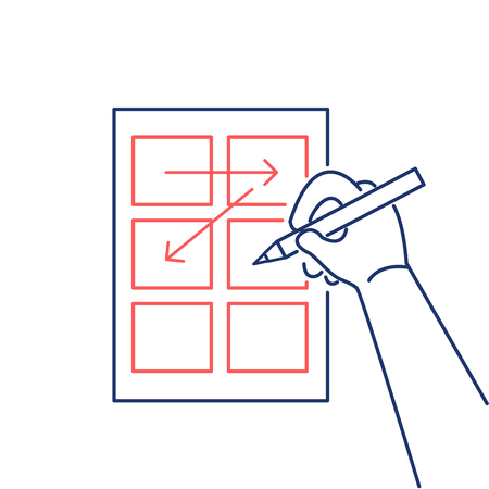 storyboard: Conceptual vector storyboard icon of hand drawing creative sketches | modern flat design marketing and business linear illustration and infographic concept red and blue on white background