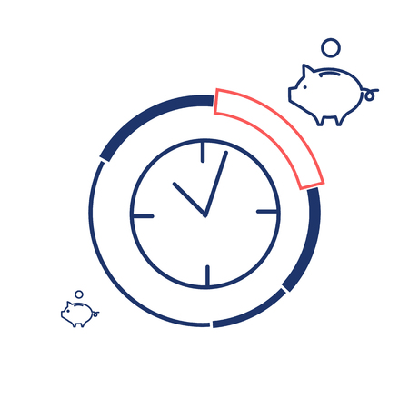 focus group: Conceptual vector prime time icon of clocks and pie chart around with different price parts and piggy money bank | modern flat design marketing and business linear illustration and infographic concept red and blue on white background