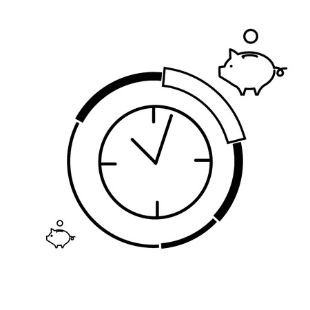 targeted: Conceptual vector prime time icon of clocks and pie chart around with different price parts and piggy money bank | modern flat design marketing and business linear illustration and infographic concept black on white background