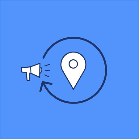 targeted: Conceptual vector local marketing campaign strategy icon with megaphone map marker | modern flat design marketing and business linear illustration and infographic concept on blue background Illustration