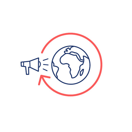 audiences: Conceptual vector global marketing campaign strategy icon with megaphone and globe   modern flat design marketing and business linear illustration and infographic concept red and blue on white background Illustration