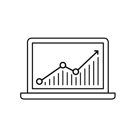 targeted: Conceptual vector web page traffic and statistic icon of chart on laptop screen | modern flat design marketing and business linear illustration and infographic concept black on white background Illustration