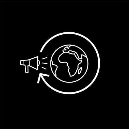 targeted: Conceptual vector global marketing campaign strategy icon with megaphone and globe | modern flat design marketing and business linear illustration and infographic concept white on black background Illustration
