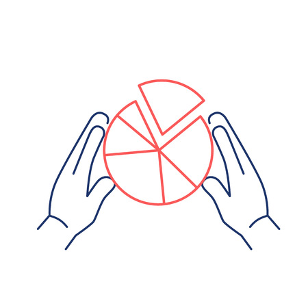 market share: Conceptual vector market share icon with pie chart holding in two hands | modern flat design marketing and business linear illustration and infographic concept red and blue on white background