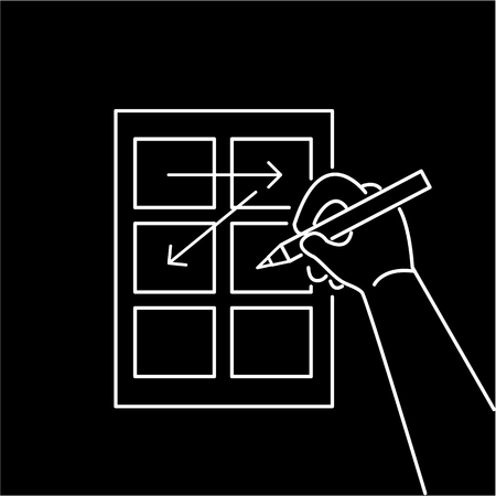 storyboard: Conceptual vector storyboard icon of hand drawing creative sketches | modern flat design marketing and business linear illustration and infographic concept white on black background