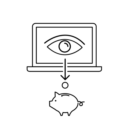 targeted: Conceptual vector web page impression or ppc icon of eye on laptop screen changes in to money | modern flat design marketing and business linear illustration and infographic concept black on white background