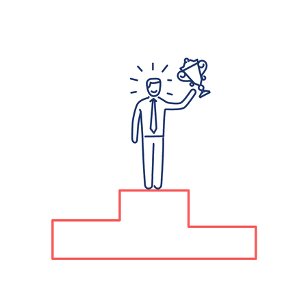 gold cup: Conceptual vector tender winner icon of businessman standing on the top of the podium with gold cup | modern flat design marketing and business linear illustration and infographic concept red and blue on white background