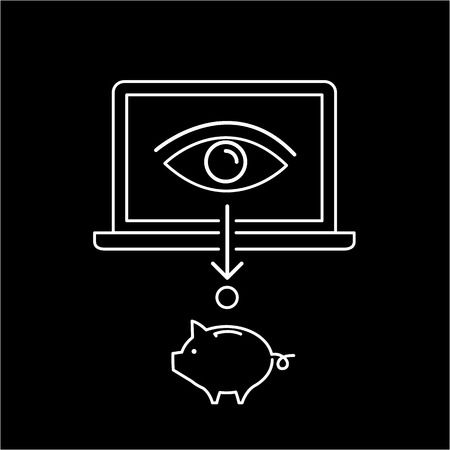Conceptual vector web page impression or ppc icon of eye on laptop screen changes in to money | modern flat design marketing and business linear illustration and infographic concept white on black background