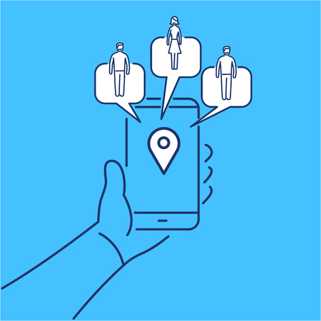 local business: Conceptual vector solomo or social local mobile icon of smartphone in hand communicating with local social people groups | modern flat design marketing and business linear illustration and infographic concept on blue background