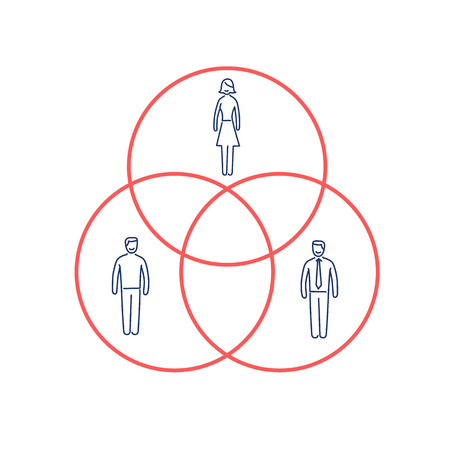targeted: Conceptual vector population sample icon of pie charts with people in different target groups inside | modern flat design marketing and business linear illustration and infographic concept red and blue on white background Illustration