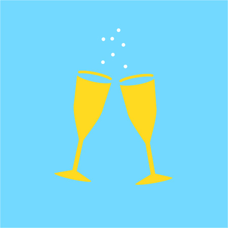 champaign: Conceptual vector galesses of champaign icon | modern flat design cosmetic and spa illustration and infographic concept colorful on blue background