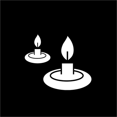 scented candle: Conceptual vector relaxation candles icon | modern flat design cosmetic and spa illustration and infographic concept white on black background