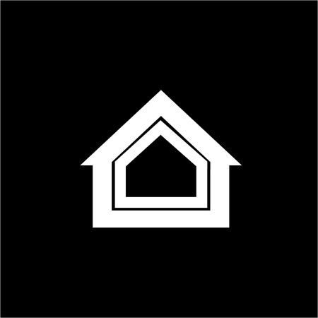 isolation: Conceptual vector passive house isolation icon and pictogram | modern flat design illustration and infographic concept white on black background