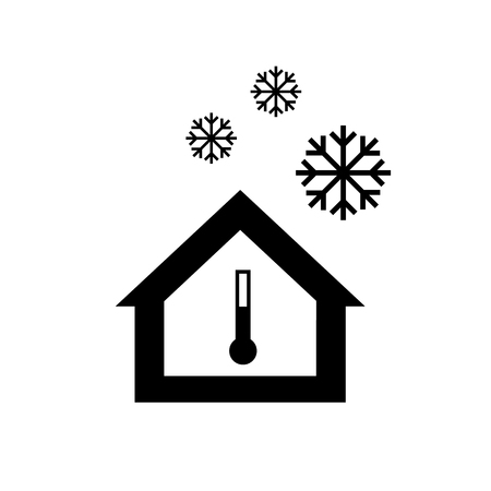 airtight: Conceptual vector passive house in cold or winter icon and pictogram | modern flat design illustration and infographic concept black on white background Illustration