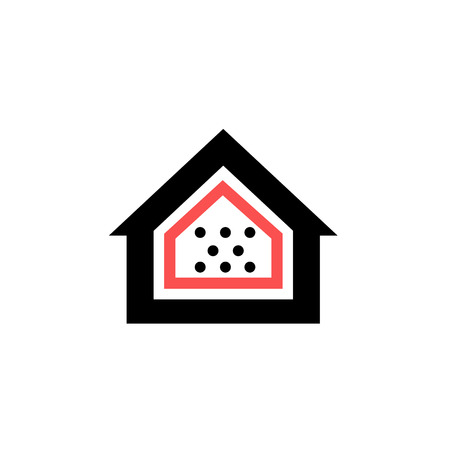 airtight: Conceptual vector passive house airtight icon and pictogram | modern flat design illustration and infographic concept red and black on white background