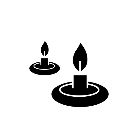 scented candle: Conceptual vector relaxation candles icon | modern flat design cosmetic and spa illustration and infographic concept black on white background Illustration