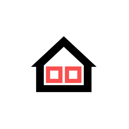 exchanger: Conceptual vector passive house triple window isolation icon and pictogram | modern flat design illustration and infographic concept red and black on white background Illustration