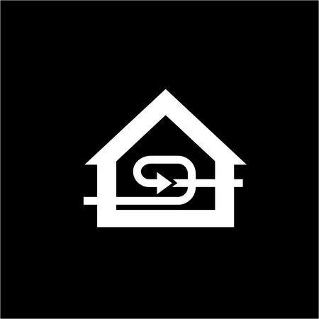 recuperation: Conceptual vector passive house recuperation forced airing icon and pictogram | modern flat design illustration and infographic concept white on black background