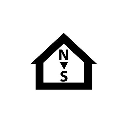 puntos cardinales: Vector conceptual de orientaci�n de la casa pasiva al icono de los puntos cardinales y el pictograma | moderna ilustraci�n dise�o plano y el concepto de infograf�a negro sobre fondo blanco