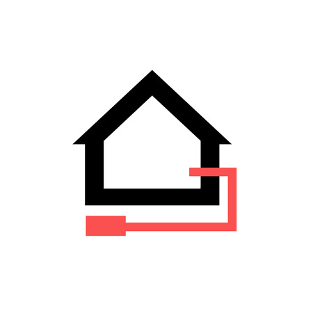 exchanger: Conceptual vector passive house heat exchanger icon and pictogram | modern flat design illustration and infographic concept red and black on white background Illustration