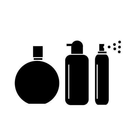 hairspray: Conceptual vector cosmetic bottles tubes and phials icons set | modern flat design cosmetic and spa illustration and infographic concept black on white background