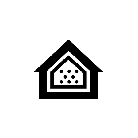 airtight: Conceptual vector passive house airtight icon and pictogram | modern flat design illustration and infographic concept black on white background