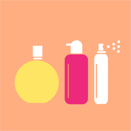 hairspray: Conceptual vector cosmetic bottles tubes and phials icons set | modern flat design cosmetic and spa illustration and infographic concept colorful on orange background Illustration