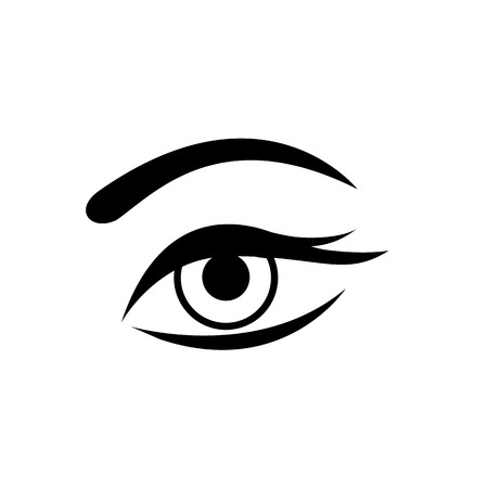 lashes: Conceptual vector woman eye icon with mascara and long lashes | modern flat design cosmetic and spa illustration and infographic concept black on white background