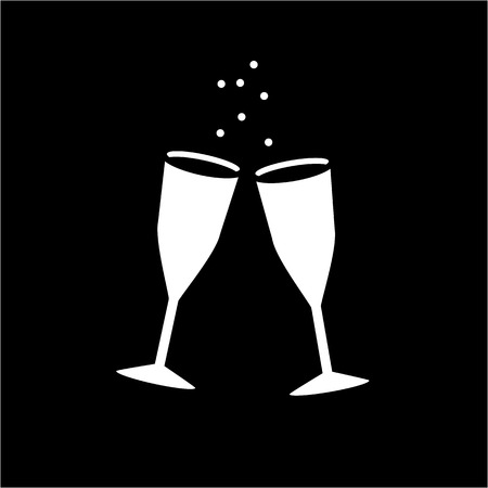 champaign: Conceptual vector galesses of champaign icon   modern flat design cosmetic and spa illustration and infographic concept white on black background