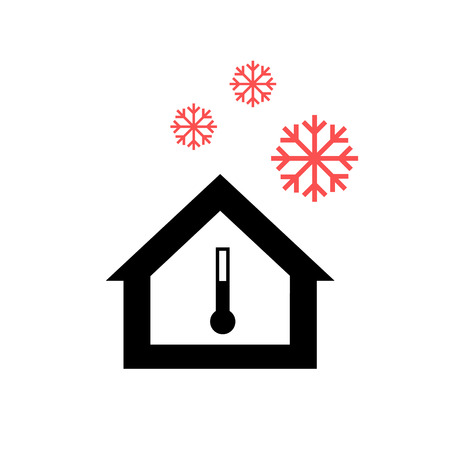 passive: Conceptual vector passive house in cold or winter icon and pictogram | modern flat design illustration and infographic concept red and black on white background Illustration