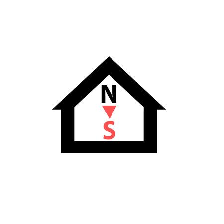 puntos cardinales: Vector conceptual de orientaci�n de la casa pasiva al icono de los puntos cardinales y el pictograma | moderno dise�o ilustraci�n plana y infograf�a concepto de color rojo y negro sobre fondo blanco Vectores