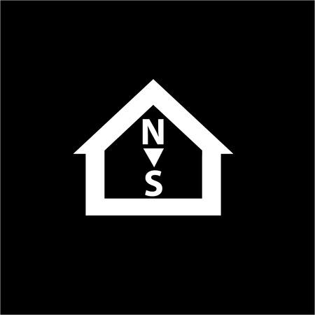 puntos cardinales: Vector conceptual de orientaci�n de la casa pasiva al icono de los puntos cardinales y el pictograma | moderno dise�o ilustraci�n infograf�a plana y el concepto de blanco sobre fondo negro