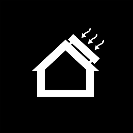 passive: Conceptual vector passive house solar energy icon and pictogram | modern flat design illustration and infographic concept white on black background