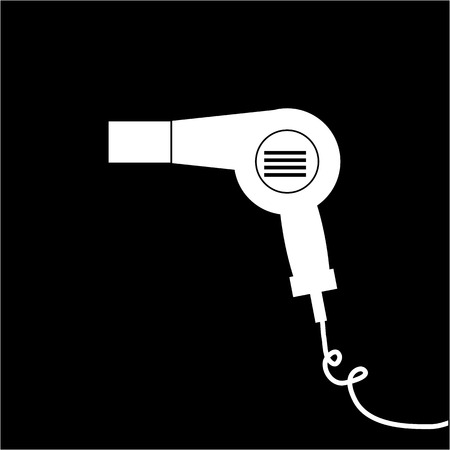 hair dryer: Conceptual vector cosmetic hair dryer icon | modern flat design cosmetic and spa illustration and infographic concept white on black background