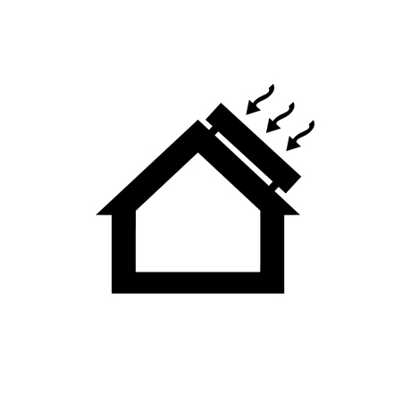 exchanger: Conceptual vector passive house solar energy icon and pictogram | modern flat design illustration and infographic concept black on white background