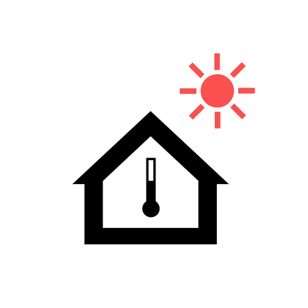 house windows: Conceptual vector passive house in heat or summer icon and pictogram | modern flat design illustration and infographic concept red and black on white background