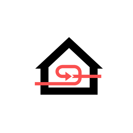 exchanger: Conceptual vector passive house recuperation forced airing icon and pictogram | modern flat design illustration and infographic concept red and black on white background