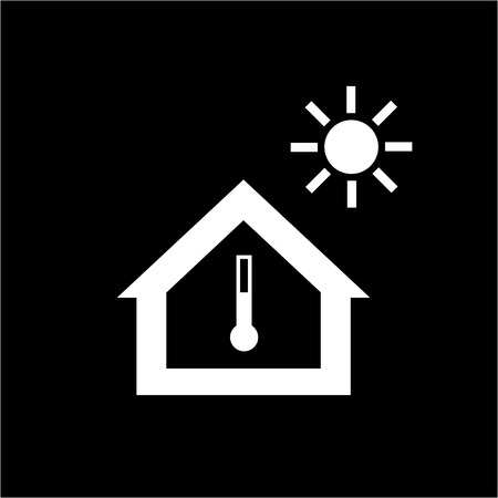 exchanger: Conceptual vector passive house in heat or summer icon and pictogram | modern flat design illustration and infographic concept white on black background Illustration